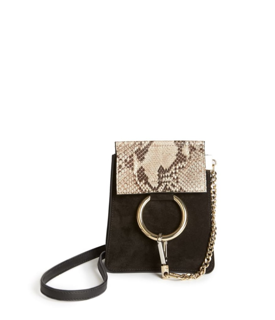 Chloé Faye Mini Suede and Python-Embossed Leather Bracelet Crossbody Bag ($1,290)