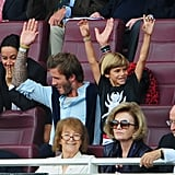 David Beckham and the boys got into the action of the game during a July 2010 soccer match in London.