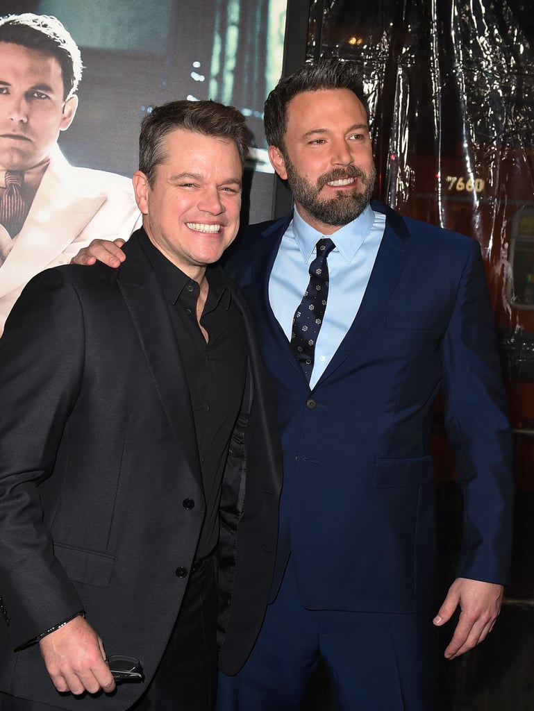 Following their fun night at Sunday's Golden Globe Awards, Ben Affleck and Matt Damon could not stop giggling when they arrived at the LA premiere of Live by Night on Monday. The longtime pals kept things crisp in suits and were nearly inseparable as they walked down the red carpet. The film, which was written and directed by Ben himself, takes place in the roaring '20s and hits theaters Jan. 13.       Related:                                                                                                           Ben Affleck Steps Out Solo, but He Still Has Matt Damon and His Brother