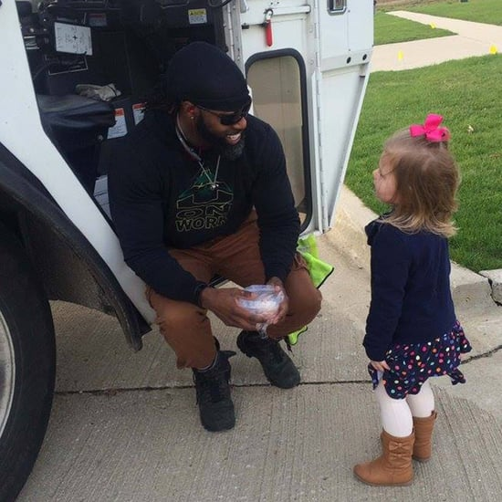 Little Girl Meets the Garbage Man For Her Birthday