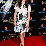 Elizabeth Reaser paired a white t-shirt with a watercolor-hued floral skirt and cage-inspired heels at the Breaking Dawn Part 2 party in San Diego.
