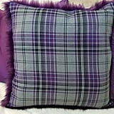The Throw Company Silver Tartan and Amethyst Faux Fur Cushion