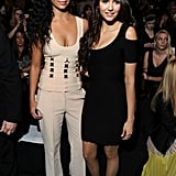 Camila Alves put her arm around Nina Dobrev for a photo at Herve Leger.