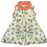Butterfly-Printed Dress With Orange Collar