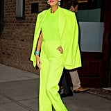 Blake wore this a slime-green neon suit from Versace's Spring '19 men's collection with a matching knitted sweater. She finished her look off with Lorraine Schwartz jewelry and Christian Louboutin heels.