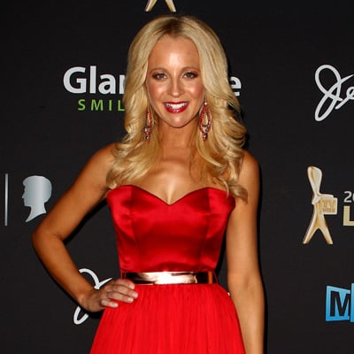 Carrie Bickmore in Red Bowie Dress Pictures at 2012 Logies