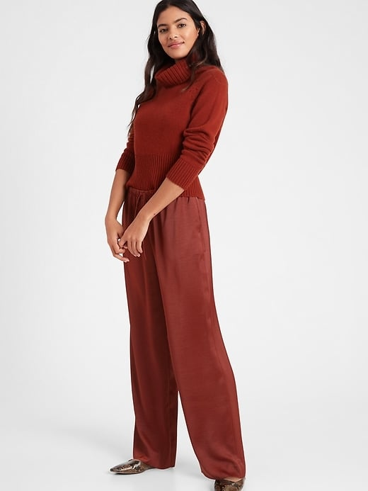 Banana Republic Wide-Leg Satin Pull-On Pant