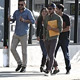 Zac Efron carried a script under his arm after leaving a meeting in LA.