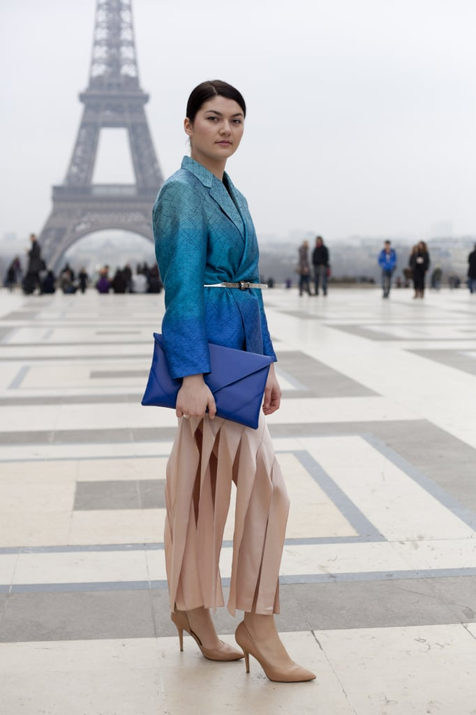 A belted metallic ombré jacket can add just the right amount of sheen to a feminine ensemble.