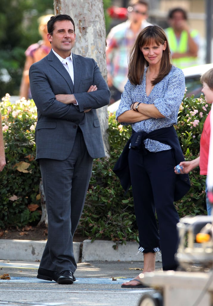 Jennifer Garner hit the set with her costar Steve Carell.