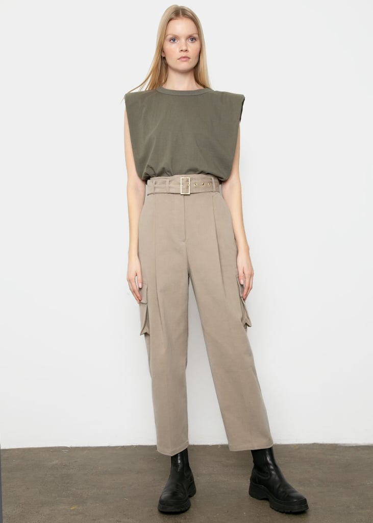 Frankie Shop Brushed Cotton Cargo Pants in Dark Beige