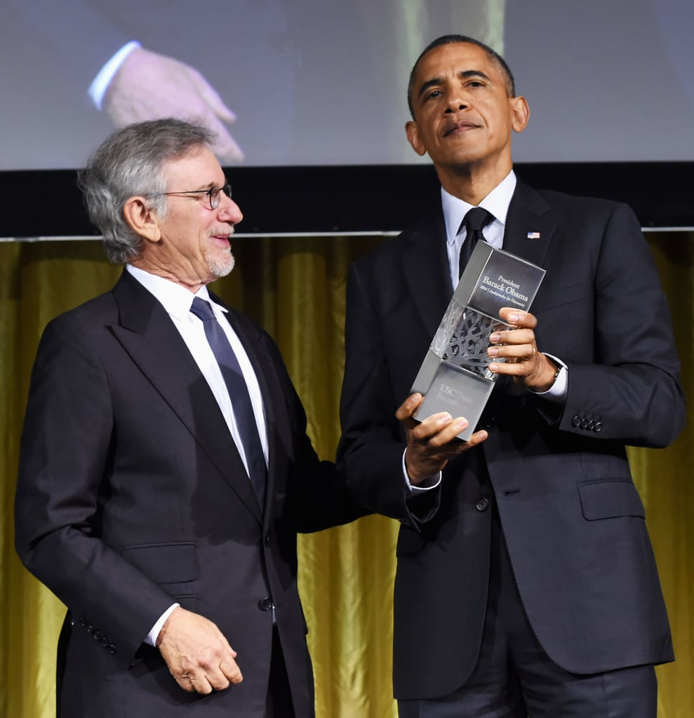 Steven Spielberg presented President Obama with the ambassador for humanity award.