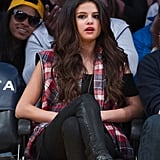 Selena Gomez wore a plaid shirt.