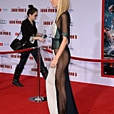 From the side, you can see why Gwyneth Paltrow's Antonio Berardi gown had people talking. The very revealing sheer paneling showed off her toned legs and let us see her white sandals.