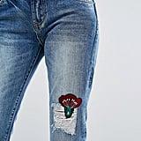 Evidnt Floral Patch Slim Leg Jeans