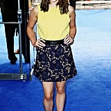 It's fair to say Maisie loves yellow! Teaming a shell top with a lace skirt and Carlo Pazolini sandals, she looked cute and chic at the X-Men: Days of Future Past premiere.
