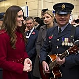 Kate Middleton chatted with a guitar player at High Street station in London.