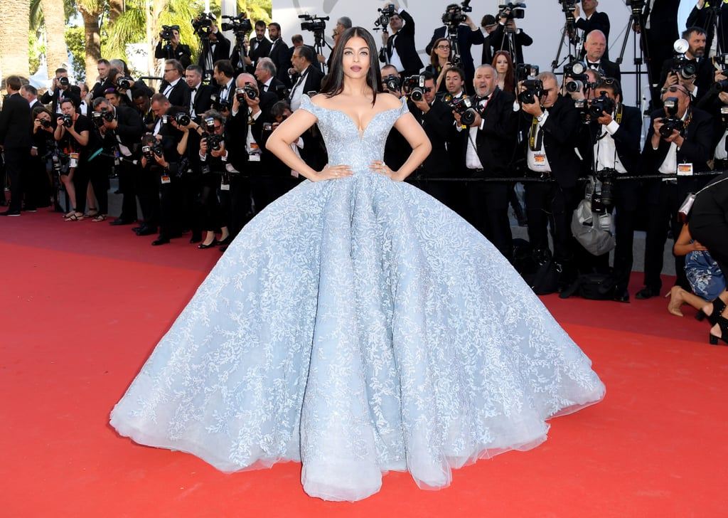 Stealing the spotlight in this baby blue Michael Cinco gown.