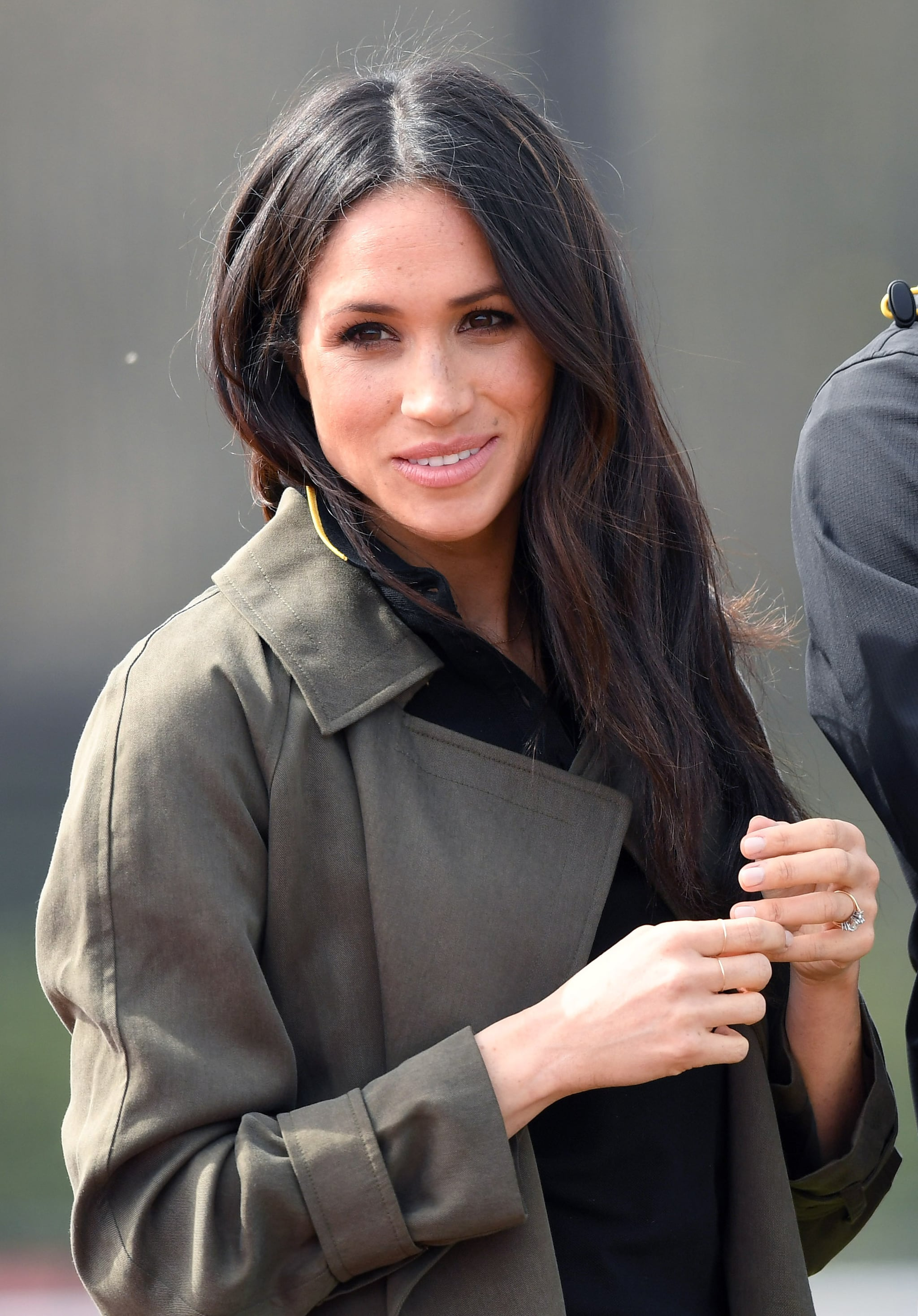 BATH, ENGLAND - APRIL 06:  Meghan Markle attends the UK Team Trials for the Invictus Games Sydney 2018 alongside Prince Harry at the University of Bath Sports Training Village on April 6, 2018 in Bath, England. The Invictus Games Sydney 2018 will take place from 20-27th October and will see over 500 competitors from 18 nations compete in 11 adaptive sports.  (Photo by Karwai Tang/WireImage)