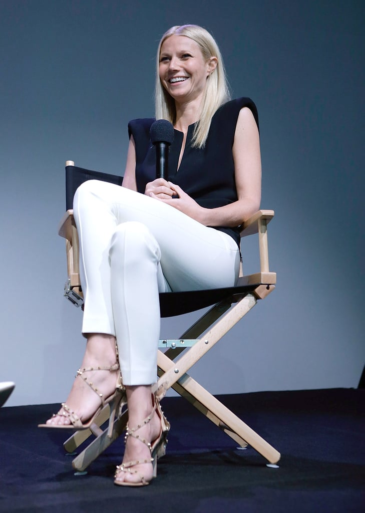 Paltrow jazzed up her crisp separates with statement-making Daniele Michetti sandals during a visit to the SoHo Apple Store in May 2013.