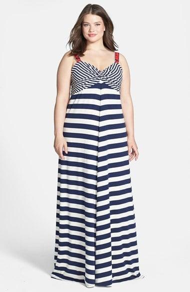 Lucky Brand Plus-Size Striped Maxi Dress