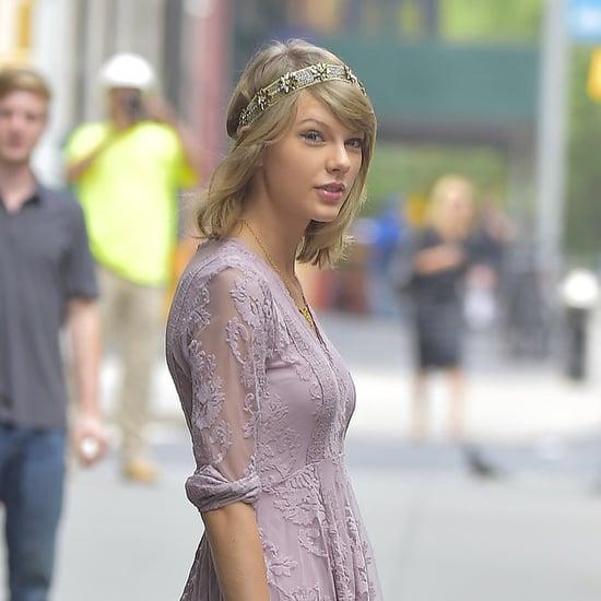 Taylor Swift Wearing Purple Lace Dress and Headpiece