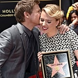 Scarlett Johansson received a kiss from her The Avengers costar Jeremy Renner.