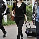 Emma Stone rolled her own luggage in Venice, Italy, on Tuesday. She's set to attend the 71st Venice International Film Festival.