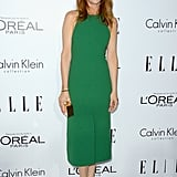 Kristen Wiig may have chosen a simplified silhouette, but made up for it with high-impact color.