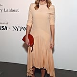 Sienna opted for a fluid midi dress for a New York party in November.
