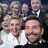 Jennifer Lawrence, Bradley Cooper, Brad Pitt, Julia Roberts, Ellen DeGeneres and more squeezed in for a selfie during the Oscars.  Source: Twitter user TheEllenShow