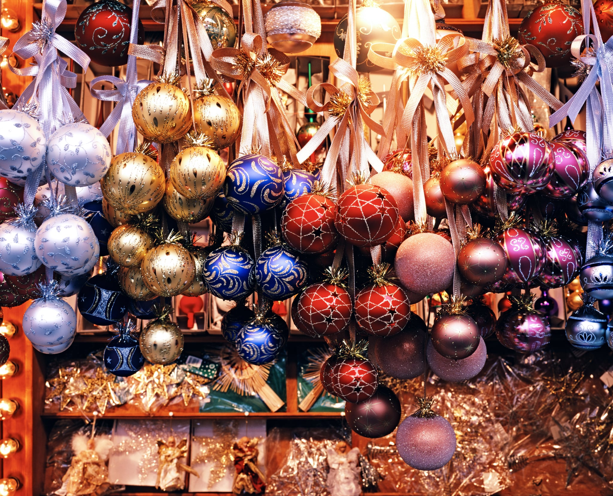 Christmas ornaments at Cologne Christmas Market. Cologne, Germany