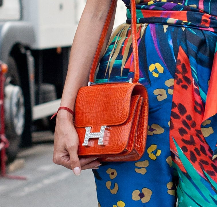 A covet-worthy Hermes crossbody bag highlighted the hues in this styler's bold print.