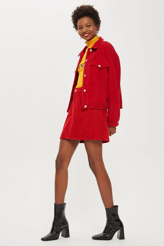 Topshop Red Corduroy Denim Set