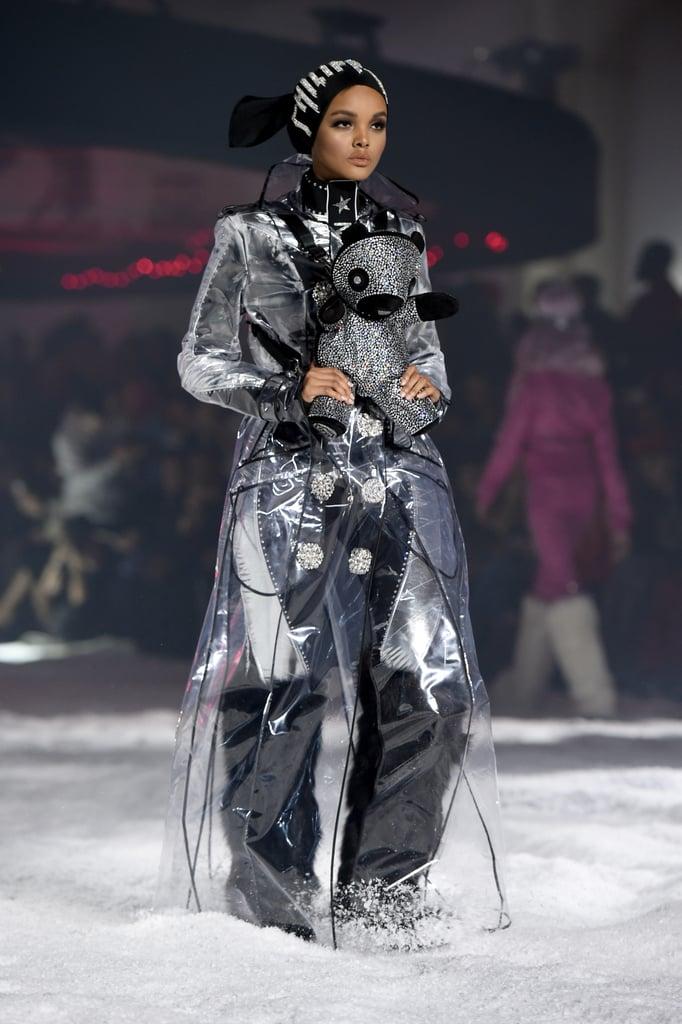 Walking the New York Fashion Week runway for Philipp Plein in 2018.