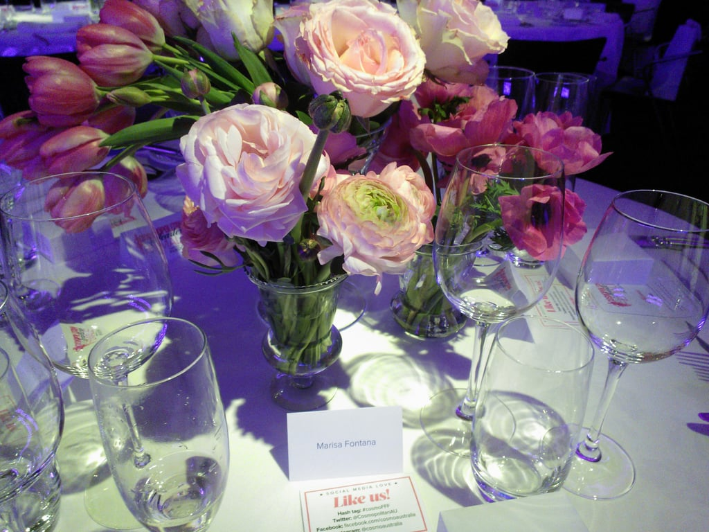 Gorgeous flowers at the Cosmopolitan Fun Fearless Female Awards at Guillaume at Bennelong.