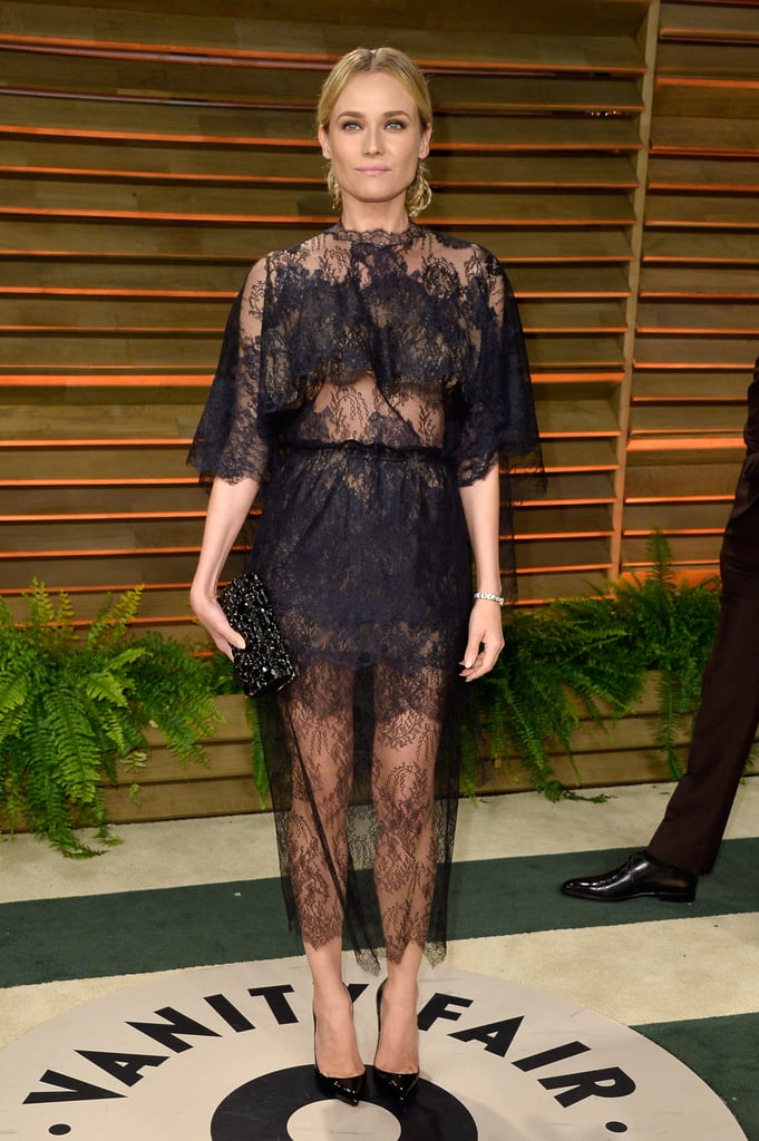 A sweet-cum-sexy lace Valentino cape dress for Vanity Fair's Oscars party in 2014.