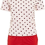 Topshop Flocked Heart Pyjama Set