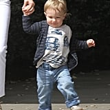 Xander Jones took baby steps out of the restaurant in LA on Monday.