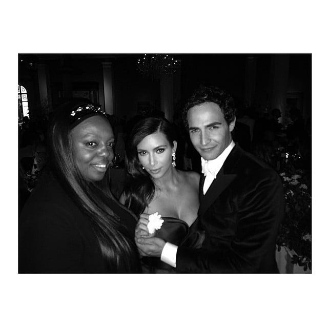 "She caught up with makeup artist Pat McGrath and designer Zac Posen, saying, ""Zac Posen took me to my 1st fashion event!"" Source: Instagram user kimkardashian"