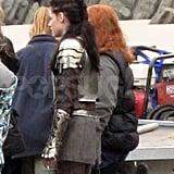 Kristen Stewart talks to the crew on the Snow White and the Huntsman set.