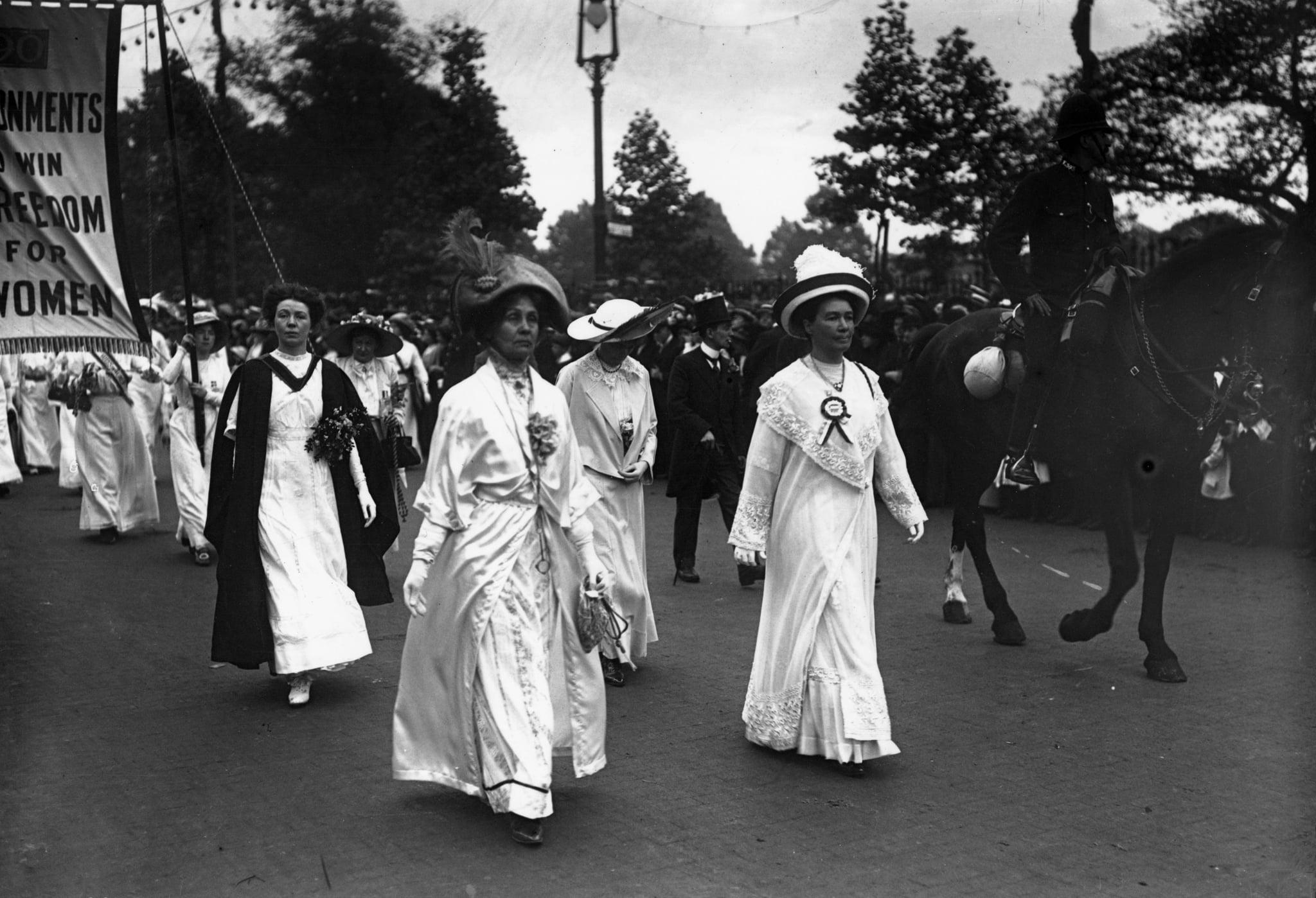 19th June 1911:  Emmeline Pankhurst (front left) leads a suffragette parade through London