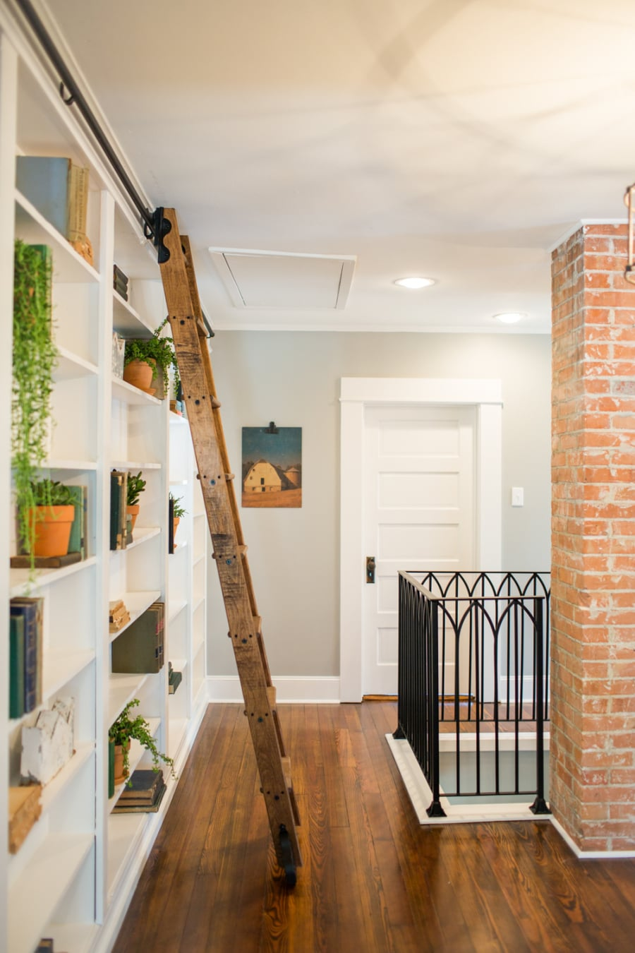 Adding a sliding ladder to a bookcase how fixer upper 39 s for How much do chip and joanna make on fixer upper
