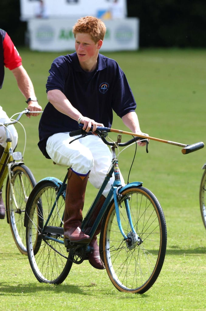 Harry played polo on a bicycle for a charity match in Wilshire, England, in 2002.