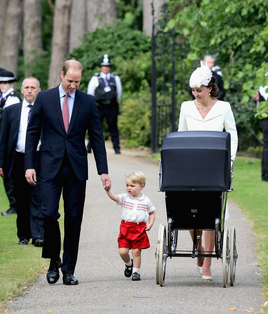 The British royal family gathered for a very special occasion on Sunday: Princess Charlotte's christening! The young royal was christened at the Church of St. Mary Magdalene on Queen Elizabeth II's Sandringham Estate, where the late Princess Diana was baptised. Princess Charlotte, whose five godparents were revealed shortly before the ceremony, wore a replica of the royal christening robe which, until 2004, was used to baptise every royal baby since Queen Victoria's time. It's the same replica that Prince George wore for his baptism in 2013, and she also followed in her big brother's footsteps by using the traditional silver-gilt Lily Font, which has been used for almost all royal baptisms since 1841. Prince William and Kate Middleton were all smiles on their daughter's big day, with Kate wearing a cream outfit for the christening. Although it was a private service for fewer than 30 guests, fans of the royal family who made their way to the church got to see Prince George's adorable arrival with his parents. Keep reading for all the pictures of the royal family at Princess Charlotte's christening, then see the cutest pictures of Princess Charlotte and her adorable portraits with Prince George.