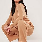 Missguided Camel Knitted Hoodie and Joggers Co Ord Set