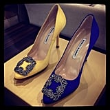 We spied Carrie Bradshaw's famous Manolos at Barneys this week.