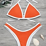 Zafull High Cut Contrast Piping Bikini Set