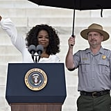 Oprah waved to everyone gathered in DC.