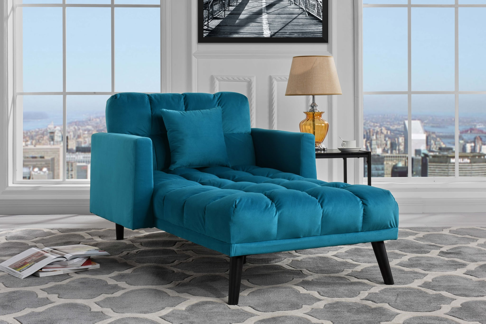 Modern Velvet Recliner Sleeper Chaise Lounge Tiny Living